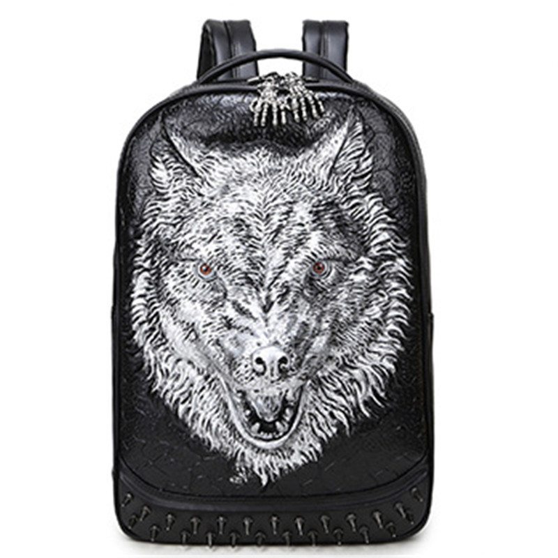 2017 New 3D Men's Personality Lion Shoulders Back Rivet  Computer Fashion Animal Bag Leather Korean Backpack Hype Free Shipping fashion free shipping just hype pattern back to school backpack mochila batoh plecak