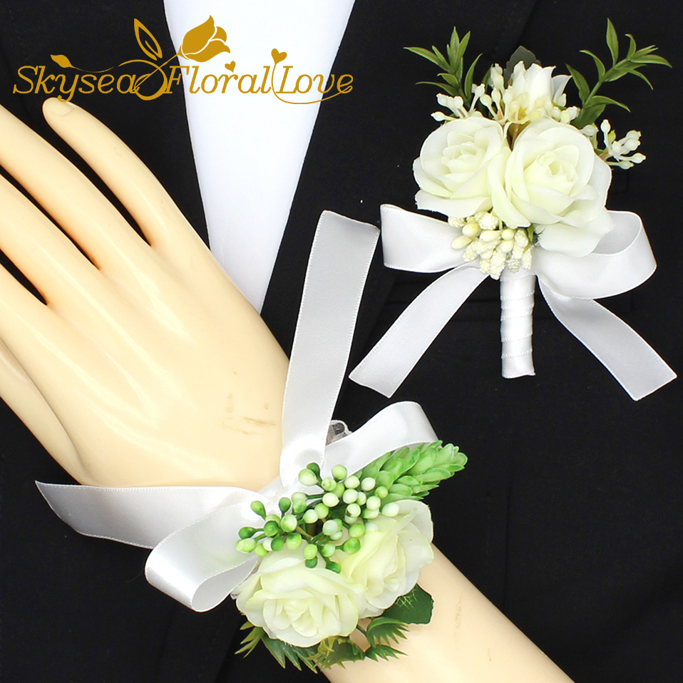 Wedding corsages and boutonnieres white rose bride groom wrist brooch flower party corsages prom