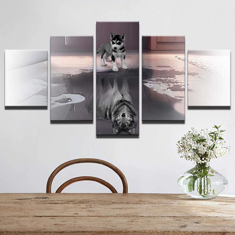 HD Printed Painting Canvas Large Animal Dog Home Decor Wall Art 5 Panel Wolf Modular Pictures For Living Room Poster Framework