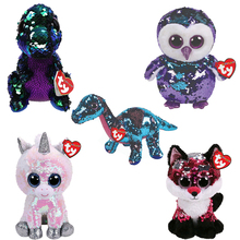 """Pyoopeo Ty Flippables 6"""" 15cm Jewel fox Moonlight Owl Crunch Dinosaur Regular Stuffed Animal Collection Doll Toy with Heart Tag"""