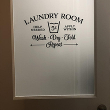 Laundry Room decor Sign wall decal room Door removeable vinyl Wall sticker for Home glass door Decor G523