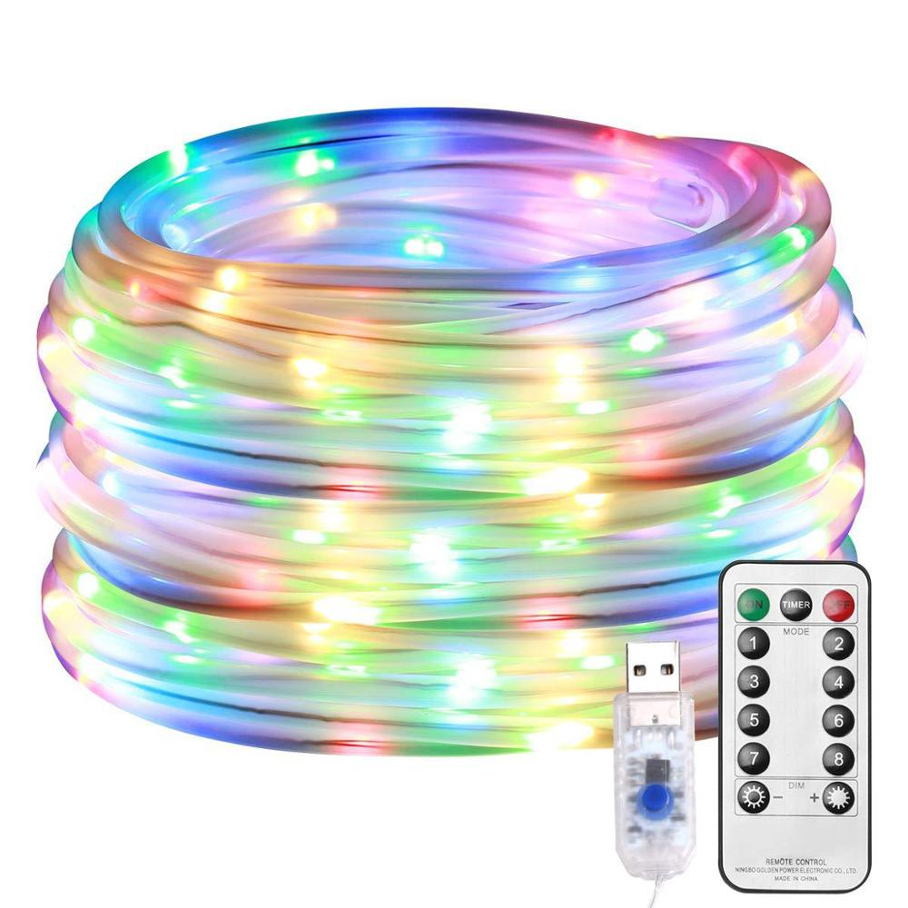 Image 5 - LED Tube Strip lights 8 Play Modes Remote Control USB Garland Outdoor Indoor DIY Decoration Christmas Wedding Garden Tree Lights-in Holiday Lighting from Lights & Lighting on