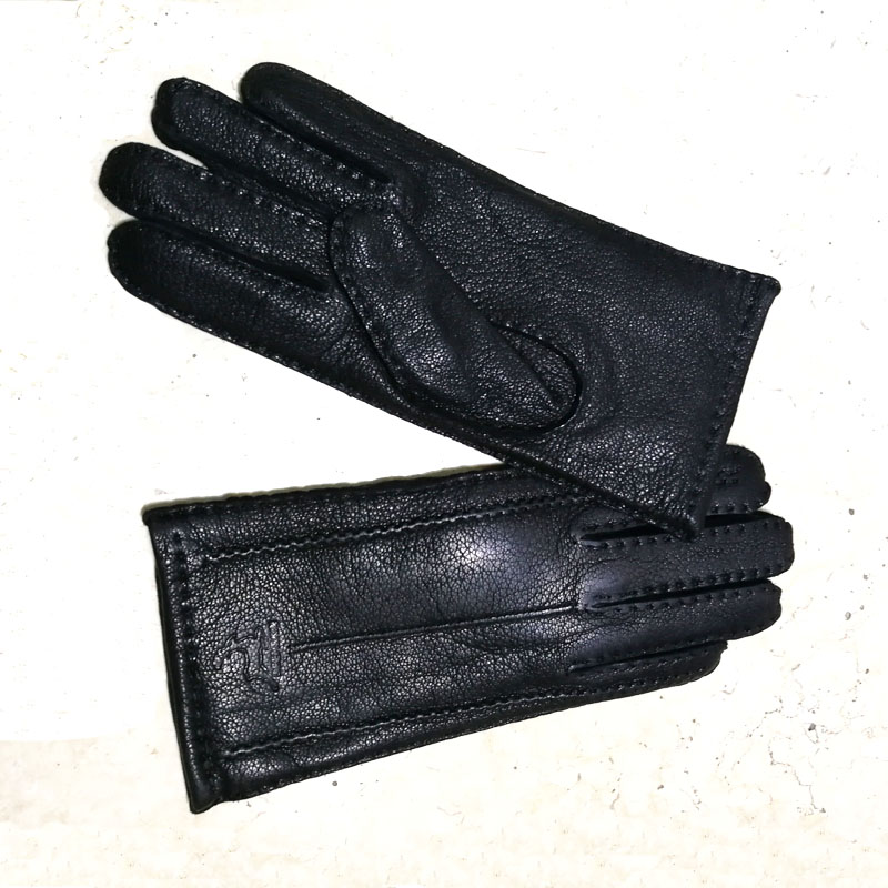 Image 3 - Deerskin gloves women's thin wool lining hand stitched autumn warm outdoor travel black ladies driving leather gloves-in Women's Gloves from Apparel Accessories