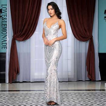 Love&Lemonade Sexy Deep V-Neck Open Back Silver Sequins Slim Long Dress LM81632