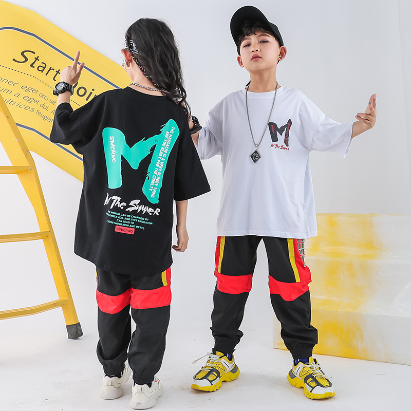 Child Ballroom Dancing Costumes For Girls Boys Jazz Hip Hop Dance Clothes Loose T Shirt Performance Show Jogger Pants Stage Wear