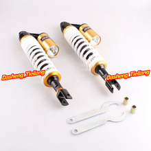 400mm Rear Air Shocks Absorber Suspension Cushion With Clevis For Honda UTV Quad Scooter Moped ATV, White/Gold