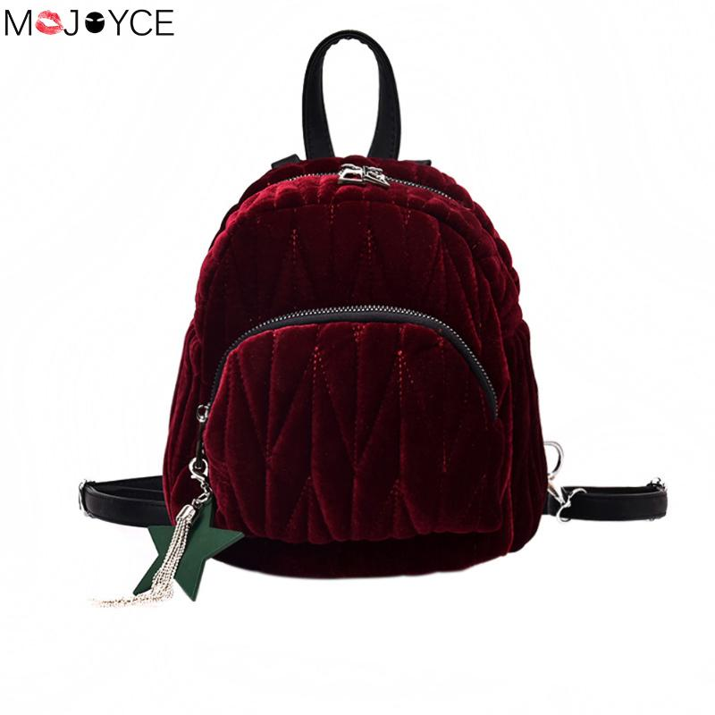 MOJOYCE Women Velvet Backpack mini mochila Travel Rucksack School Bag for Teenage Girls Autumn mini Woman backpacks rucksack school bag laptop backpacks for teenage girls printing backpack travel bag mochila feminina oxford large capacity