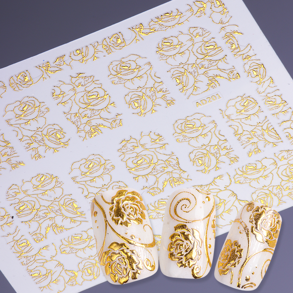 1pcs Gold Bronzing 3D Nail Sticker Flower Metalic Paste Beauty Nail Art Decorations Manicure Nails Decal DIY Tips SAAD201-212 yesurprise 3d women beauty 1pcs black lace glitters nail art tips manicure stickers decal tattoos diy decoration gift h006