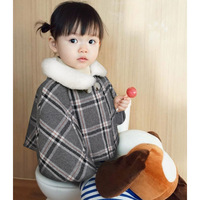 Toddler Newborn baby boy girl clothes fleece wool cape poncho plaid checked outwear children turn down fur collar coat parka kid