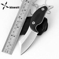 KKWOLF Hunting Fixed Blade Knife Tactical Combat Pocket Necklace Knife Fiber G10 Handle EDC Camping Survival