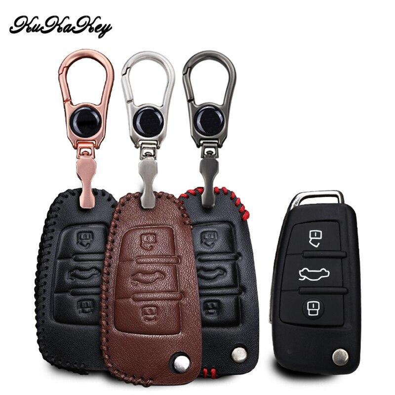 Kukakey для audi a6l q7 A2 A3 A4 A6 A8 TT 2008 2009 2010 2011 кожаный Ключи Чехол держать брелок Интимные аксессуары 3 кнопки