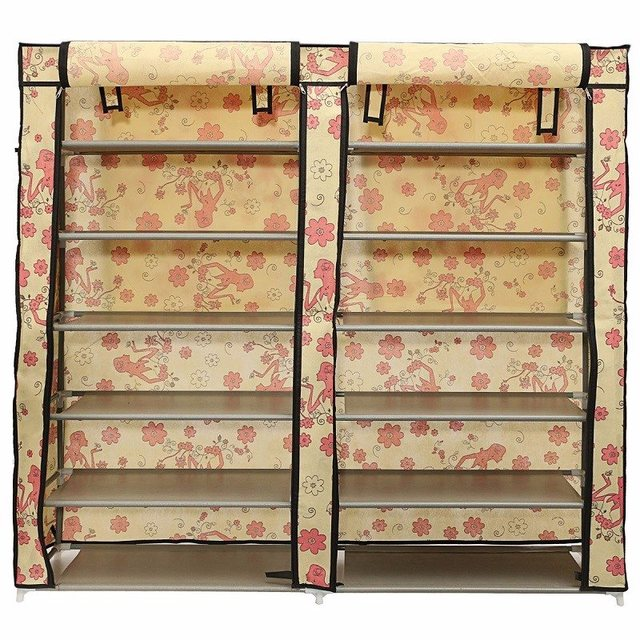 6 Layer Double Row Covered Shoes Rack Home Furniture Fabric Storage Shelf  Organizer Cabinet Closet