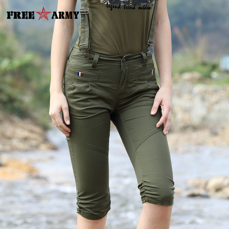 New Fashion High Waist Suspender Trousers Women Sleeveless   Jumpsuit   Solid Army Green Camouflage Casual Overalls Casual Shorts