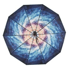 Susino Windproof Umbrella 10 Ribs Semi-automatic Open Manual Close Metal Black Coating UV Protection Three-folding 7009