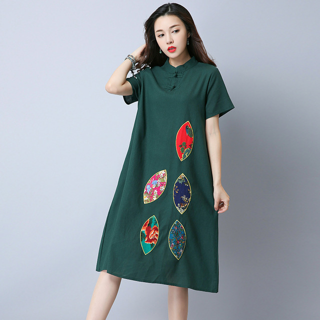 0d2eec82ad ilstile 2018 Retro Women Short Sleeve Floral Embroidery Long Dress Stand  Collar Casual Loose Cotton Linen