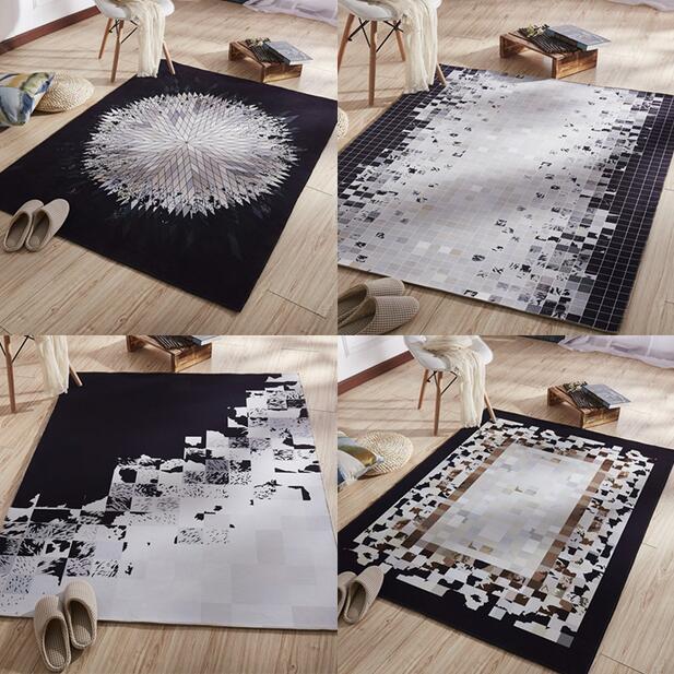 Nordique Super Grand INS Doux Flanelle Géométrique noir et blanc Tapis épais salon Tapis tapis de jeu Non-slip tapis couverture