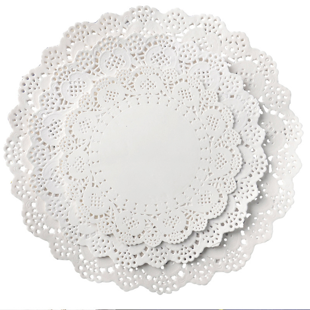 32pcs/lot Placemat Wedding Baptism Birthday Party Cute White Round Lace Food Paper Mats Pads Craft Cake DIY Decoration
