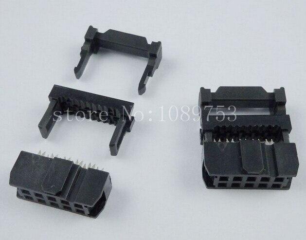 100pcs FC-10P IDC Socket 2.54mm JTAG Socket ISP Connector Black 200 pcs fc 14p 14 pins male idc socket plug ribbon cable connector black free shipping