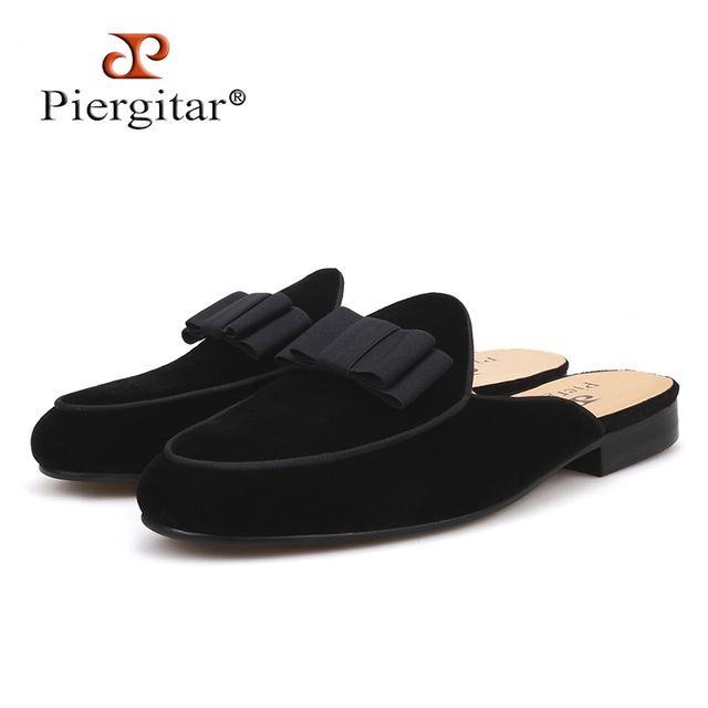 Piergitar 2018 new Fashion party and prom half designs men 's loafers Handmade Butterfly-knot men velvet slippers leather insole
