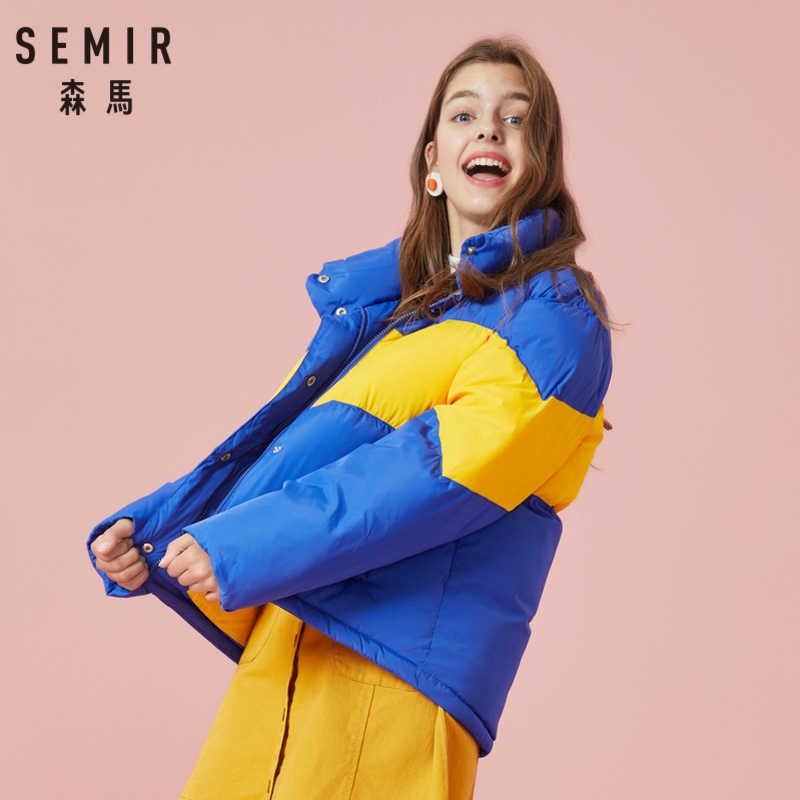 SEMIR المرأة اللون كتلة وسادة مبطنة مع المفاجئة و البريدي إغلاق الوقوف طوق سترة منفوخة مع رفرف زر جيب أطول في الخلف