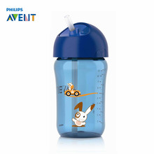 AVENT 340ml/12oz Cartoon Baby Straw Cup Water Drinking BPA Free Bottle Child Feeding Cup for 18 mouths+ Baby Travel School Using