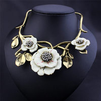 Luxury Big Resin Crystal Flower Bib Statement Necklaces Exaggerate Enamel Floral Punk Choker For Women Vintage Jewlery