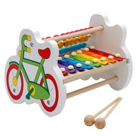 2018 Baby Wooden Kid 8 Note Xylophone Musical Toys Wisdom Development Hand Knock Piano Blue Brain Game Preschool Toy