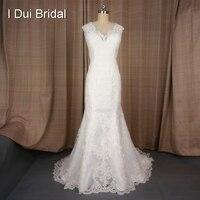 V צוואר תחרת Appliqued מותאם אישית שמלת כלה תחרה וינטג 'יוקרה מעצב סגנון שמלת כלה תמונה אמיתית