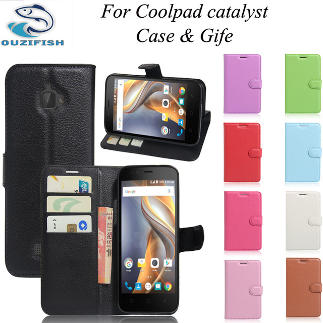 (OUZIFISH)For Coolpad Catalyst 3623A Case Wallet Style Fundas PU Leather Phone Protective Back Cover For Coolpad Catalyst 3622A
