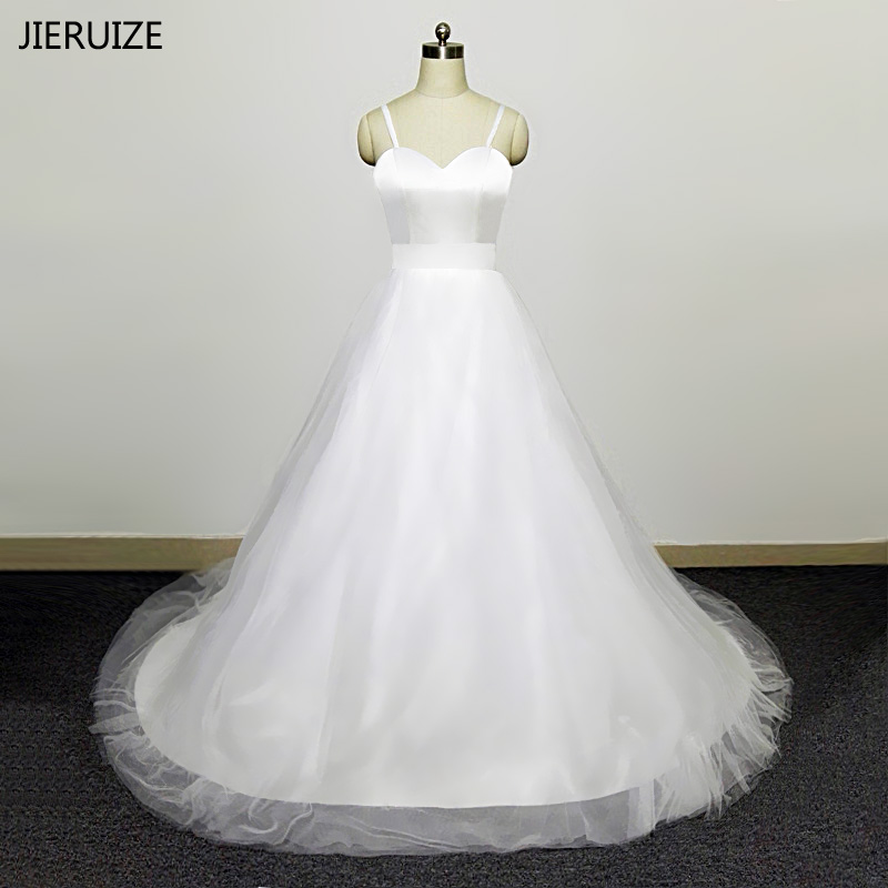 Wedding Ball Gowns With Straps: JIERUIZE White Simple Wedding Dresses Spaghetti Straps