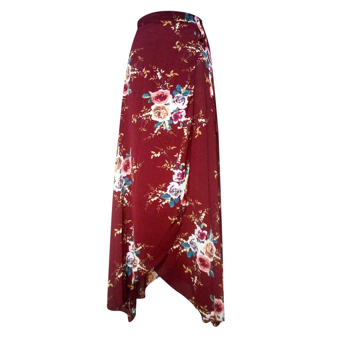 JIMMYHANK 2017 Summer Women High Waist Lace Up Spilt Irregular Floral Printed Chiffon Bohemian Maxi Skirt in Skirts from Women 39 s Clothing