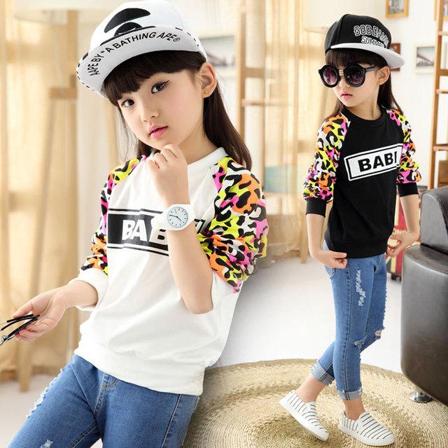 2015 crianças de roupas, Meninas de manga comprida camisa de malha, Camuflagem letras crianças camisola de manga comprida