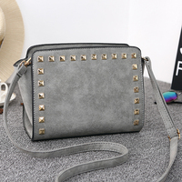 Antbook New Vintage Women Messenger Bags Pu Leather Rivet Girls Shoulder Crossbody Bags For Women Wallets