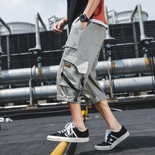 Safari Style Calf-Length Pants Webbing Multi-Pockets Mens Elastic Waist Black Green Gray Camo