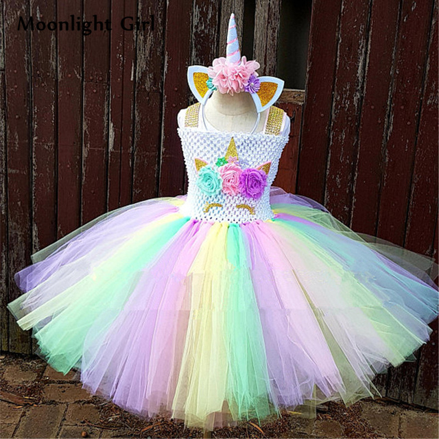 Rainbow Girls Tutu Dress Pony Unicorn Dress For Girl Birthday Party  Halloween Unicorn Costume For Kids Dresses Up Cosplay PQ084 2ade32dfc8b1