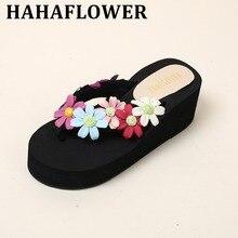 HAHAFLOWER Female Open Toe Women's Sandles Thick Wedge Shoes  Colorful Handmade Flower Gladiator Platform Summer Beach