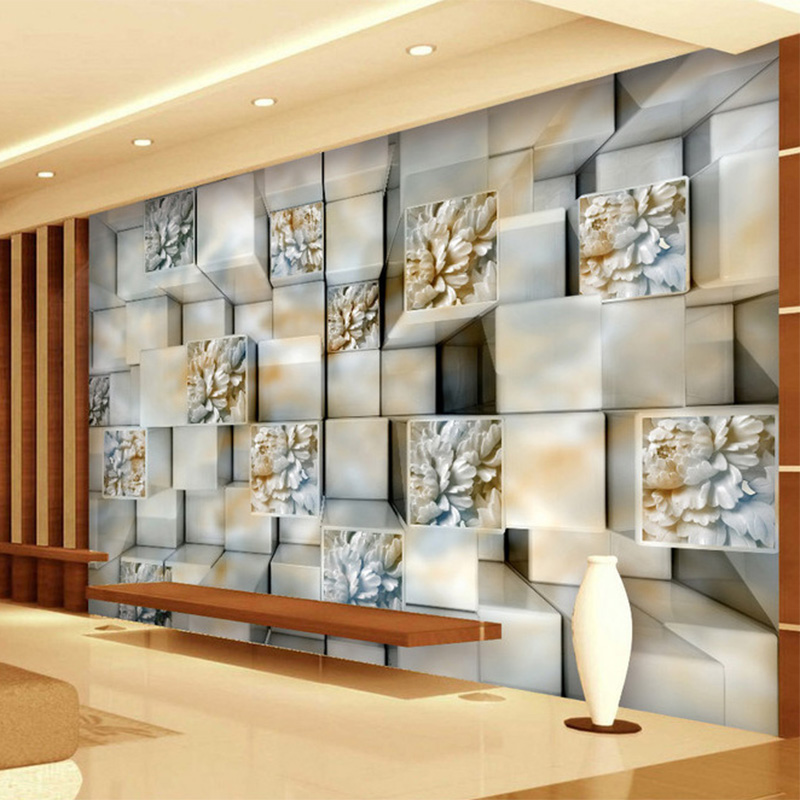 3d stereo relief square marble wallpaper european style for Hotel home decor
