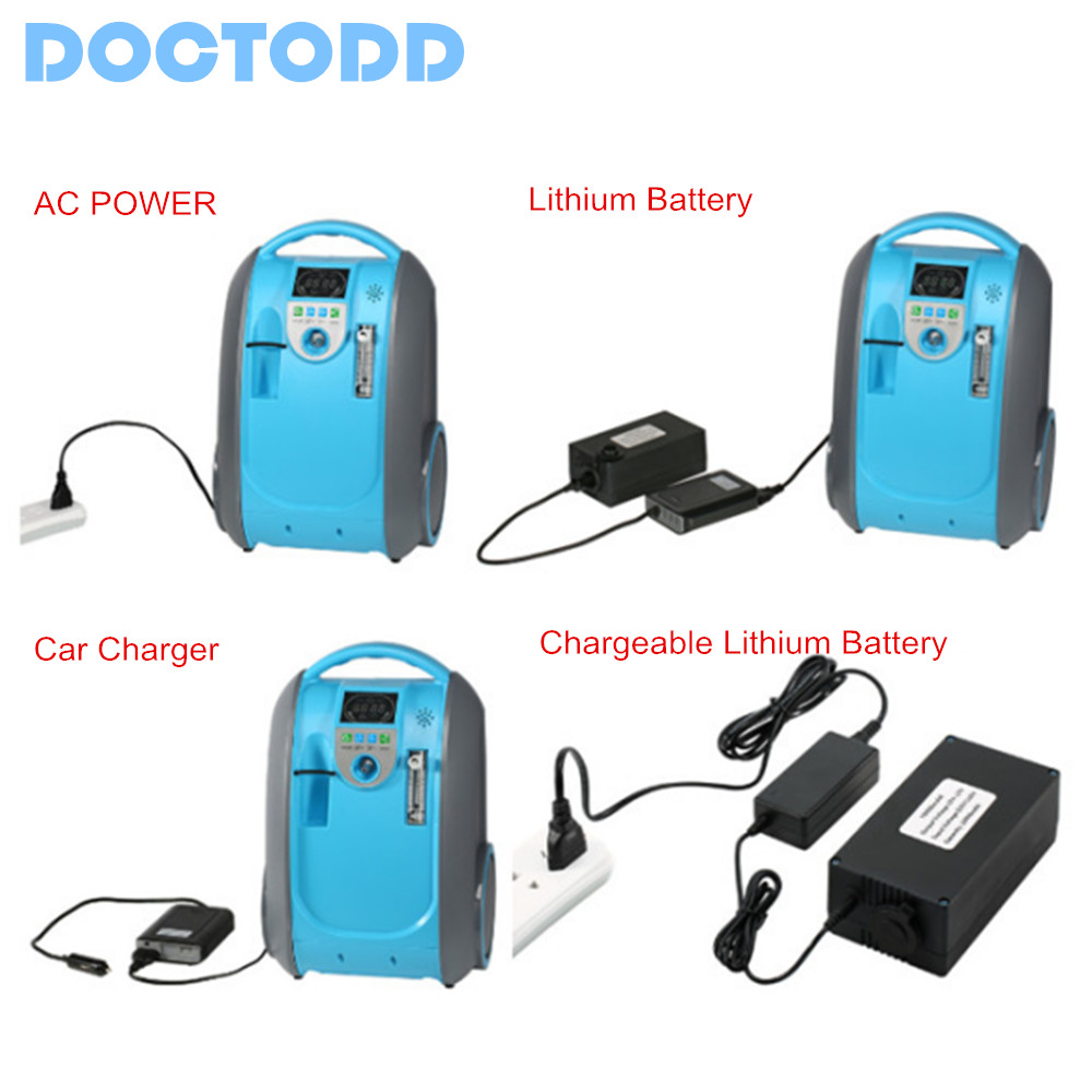 5L Battery Oxygen Concentrator Health Care Medical Use Oxygen <font><b>Generator</b></font> Home Car Outdoor Travel Use COPD <font><b>O2</b></font> <font><b>Generator</b></font> image