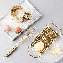 Набор кухонных инструментов для выпечки, Золотое сито из нержавеющей стали для взбивания яиц, сито, порошковая чашка