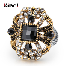 Kinel Unique Black Rings Antique Gold Color Mosaic Crystal Vintage Wedding Ring For Women Fasion Jewellery 2019 New