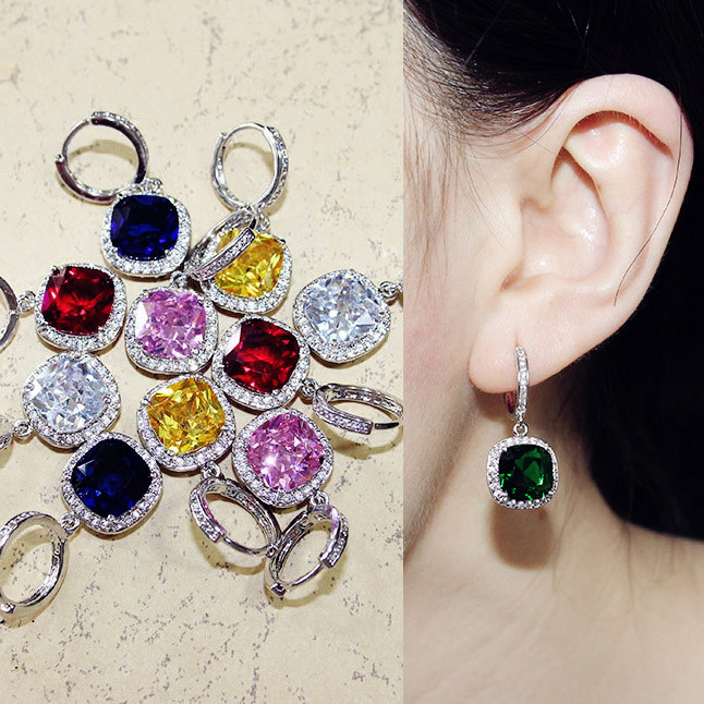 Sparkling Fashion Square Big Green Royal Blue Red Pink Yellow stone Drop Earrings Princess-cut Cubic Zirconia Women Jewelry