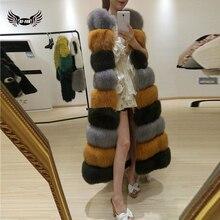 Bffur 120 см Натуральный мех пальто Зимняя верхняя одежда Природный Толстая лиса Мех Вязаные Жилеты для женщин для Для женщин жилет куртка лиса Мех пальто пуховой жилет Натуральный 10432