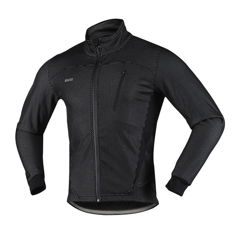 ARSUXEO Cycling Winter Jacket Men Warm Up Fleece Thermal MTB Bicycle Clothing Windproof Sports Wind Coat Mountain Bike Jerseys