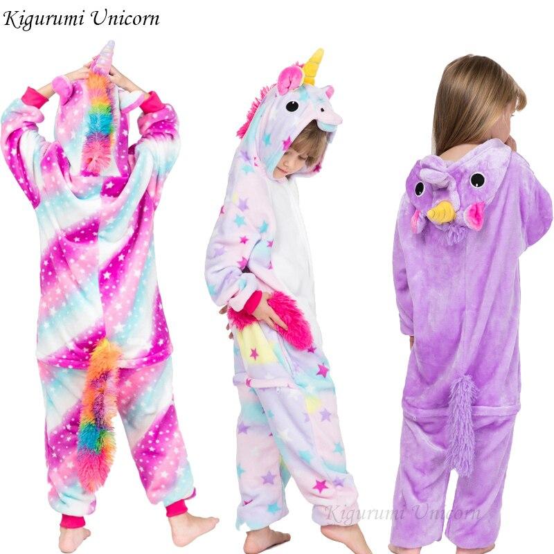 Kigurumi Unicorn Pajamas Children's Pajamas For Boys Girls Flannel Kids Stich Pijamas Set Animal Sleepwear Winter Onesies 4 12
