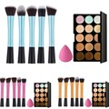 15 Colors Concealer Palette and Makeup Foundation Sponge and 5 x Makeup Brush Blue Gold Pink