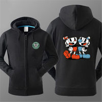 2017 Game Cuphead Hoodies Cotton Zip Up Printing Pattern Hooded Fleece Coats Sweatshirts Outwears Hoodies