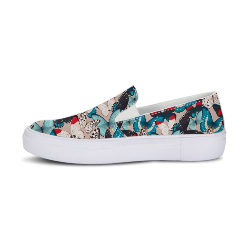 2018 Casual Gilrs Canvas School Flat Shoes Women Platform Loafers Fashion Butterfly Printed Footwear Summer Slip on Shoes Ladies