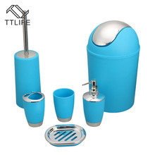 TTLIFE 6PCS /set Bathroom Accessories Sets Toothpaste ToothBrush Holder Hand Soap Shampoo Storage Bottle Household Articles
