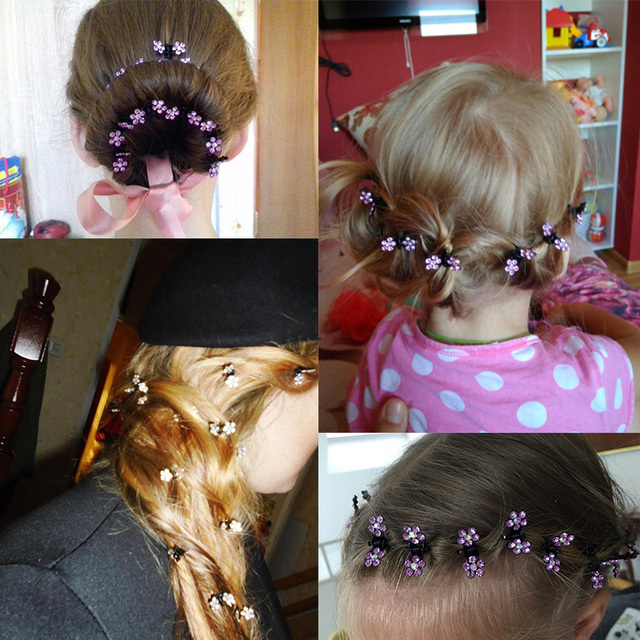 12PCS/Lot Small Cute Crystal Flowers Metal Hair Claws Hair Clip