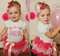 Baby Girls Birthday Party Layered Ribbon Bow Tutu Skirt Outfits Kids Girl Letter T-shirt Suits Cake set Clothes 0~3Y